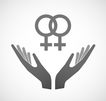 homosexual sex: Illustration of two hands offering a lesbian sign Illustration