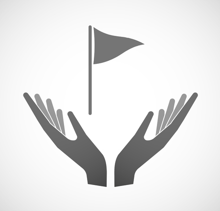 sustain: Illustration of two hands offering a golf flag