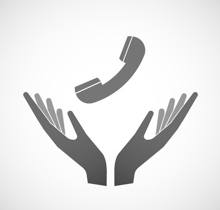 two: Illustration of two hands offering a phone