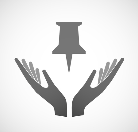 ease: Illustration of two hands offering a push pin Illustration