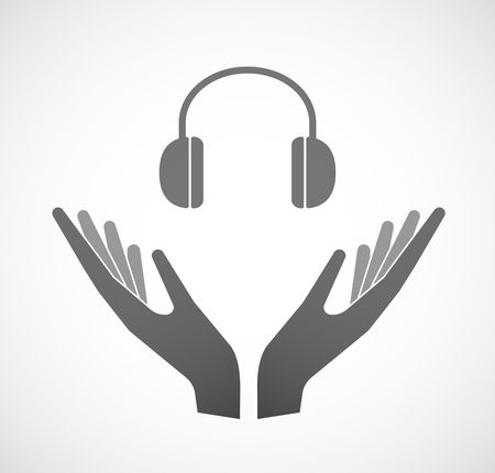 earphones: Illustration of two hands offering a earphones Illustration