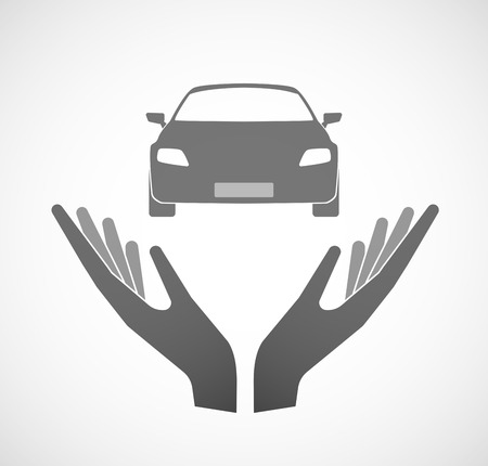 charity drive: Illustration of two hands offering a car Illustration
