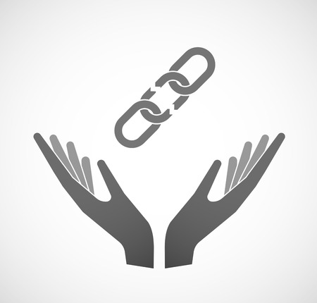 linked hands: Illustration of two hands offering a broken chain