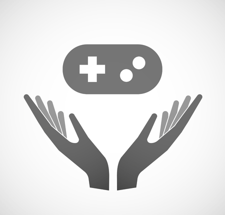 sustain: Illustration of two hands offering a game pad