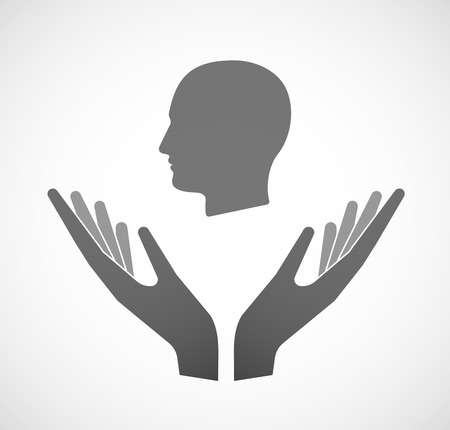 male face: Illustration of two hands offering a male head Illustration