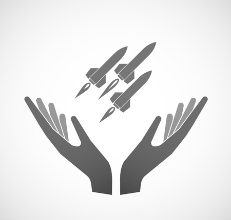 offering: Illustration of two hands offering missiles