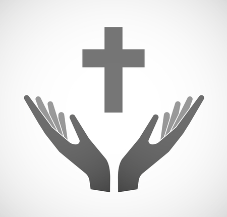 offering: Illustration of two hands offering a christian cross
