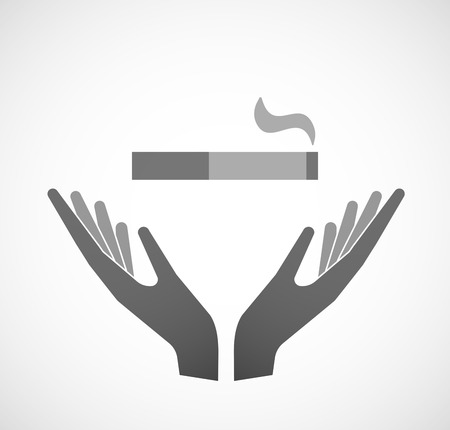 two: Illustration of two hands offering a cigarette Illustration