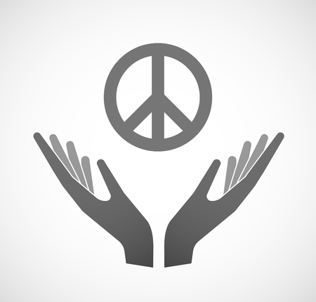offering: Illustration of two hands offering a peace sign