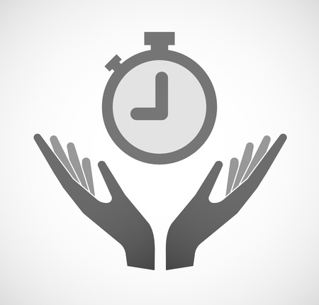 Illustration of two hands offering a timer