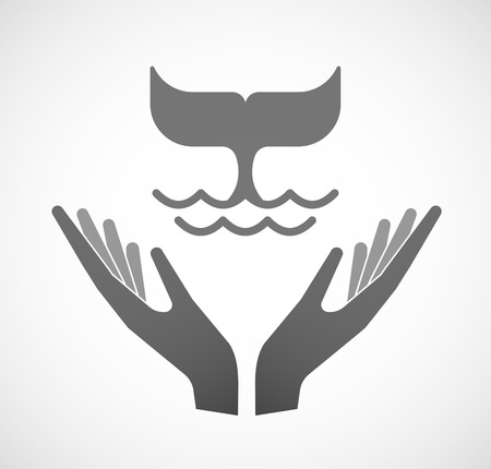 sustain: Illustration of two hands offering a whale tail