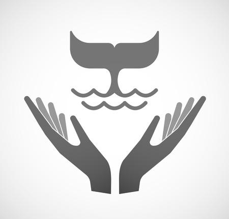 the tail: Ilustraci�n de dos manos que ofrece una cola de ballena