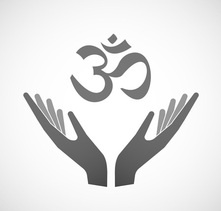 zen aum: Illustration of two hands offering an om sign
