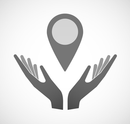 sustain: Illustration of two hands offering a map mark Illustration