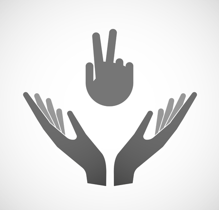 hand sign: Illustration of two hands offering a victory hand