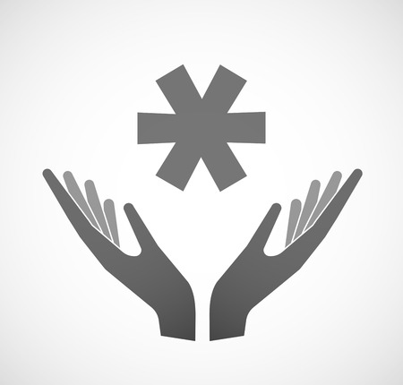 offering: Illustration of two hands offering an asterisk Illustration