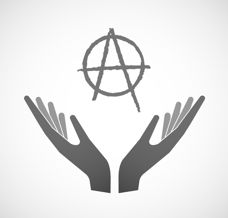 anarchist: Illustration of two hands offering an anarchy sign