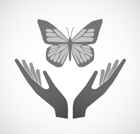 ease: Illustration of two hands offering a butterfly Illustration