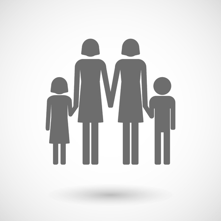 lesbian: Isolated vector illustration of a lesbian parents family pictogram
