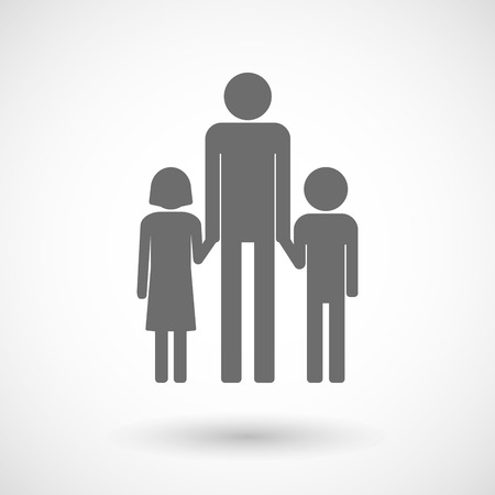 single parent: Isolated vector illustration of a male single parent family pictogram