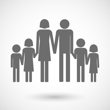 large group of objects: Isolated vector illustration of a large family  pictogram Illustration