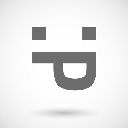 sticking out tongue: ilustraci�n vectorial de una cara se pega hacia fuera la lengua de texto
