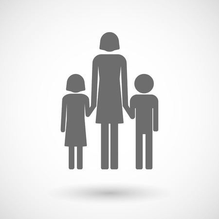 single family: Isolated vector illustration of a female single parent family pictogram Illustration