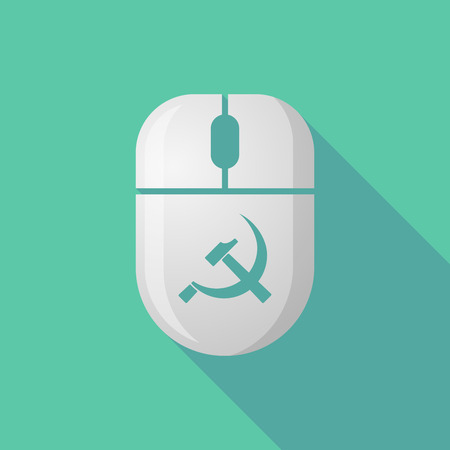 communist: Illustration of a wireless long shadow mouse icon with  the communist symbol