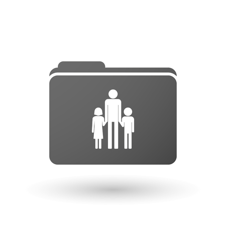 single parent: Illustration of an isolated binder with a male single parent family pictogram