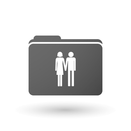 heterosexual couple: Illustration of an isolated binder with a heterosexual couple pictogram