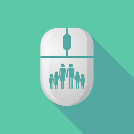 large family: Illustration of a wireless long shadow mouse icon with a large family  pictogram
