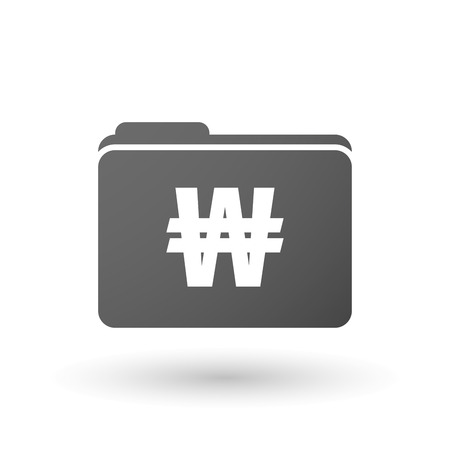 Illustration of an isolated binder with a won currency sign Illustration