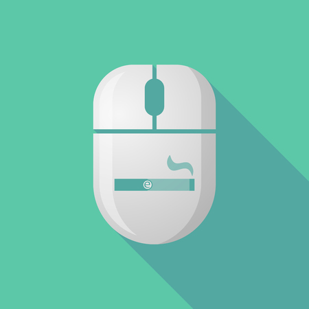 e cigarette: Illustration of a wireless long shadow mouse icon with an electronic cigarette
