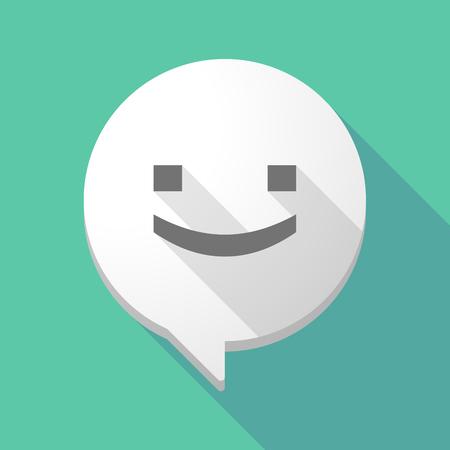 carita feliz: Illistration de una larga sombra globo de c�mic con una cara de sonrisa texto Vectores