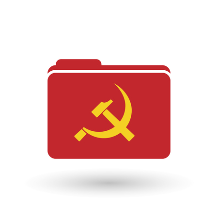 socialism: Illustration of an isolated binder with  the hammer and sickle symbol Illustration