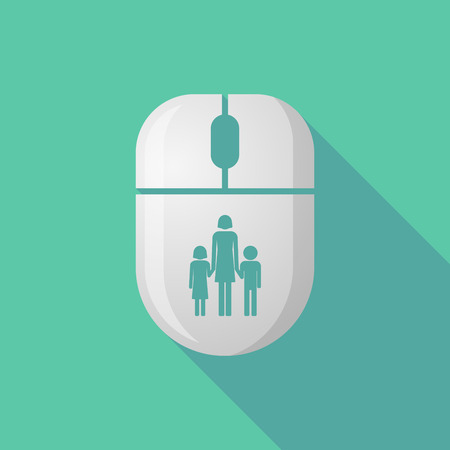 single parent: Illustration of a wireless long shadow mouse icon with a female single parent family pictogram Illustration