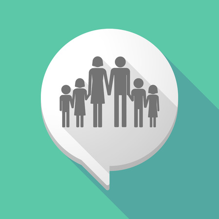 family discussion: Illistration of a long shadow comic balloon with a large family  pictogram Illustration