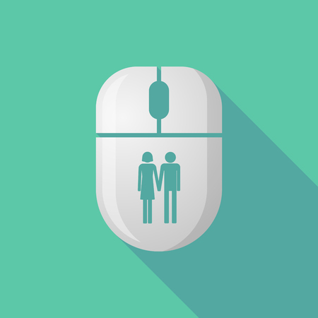 heterosexual couple: Illustration of a wireless long shadow mouse icon with a heterosexual couple pictogram Illustration