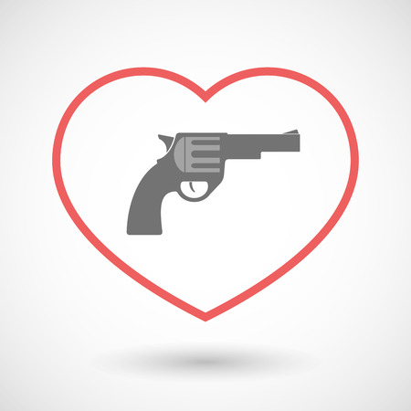 hearth: Illustration of a line hearth icon with a gun