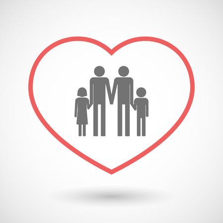 Illustration einer Linie Herd Symbol mit einem Homosexuell Eltern Familie Piktogramm