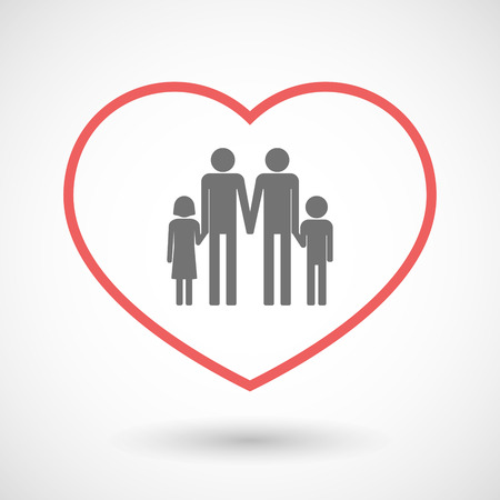 Illustration of a line hearth icon with a parents family pictogram