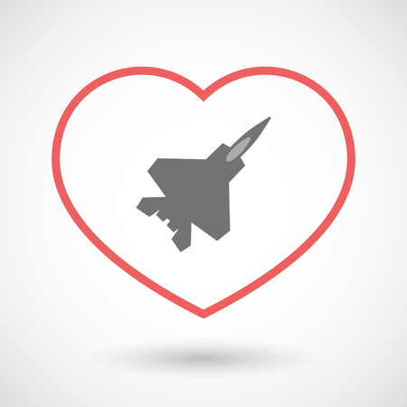seduction: Illustration of a line hearth icon with a combat plane