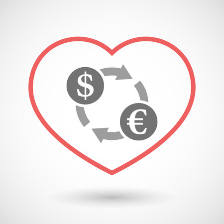 seduction: Illustration of a line hearth icon with a dollar euro exchange sign