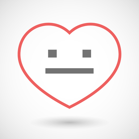 emotionless: Illustration of a line hearth icon with a emotionless text face