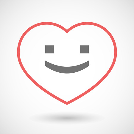 seduction: Illustration of a line hearth icon with a smile text face Illustration