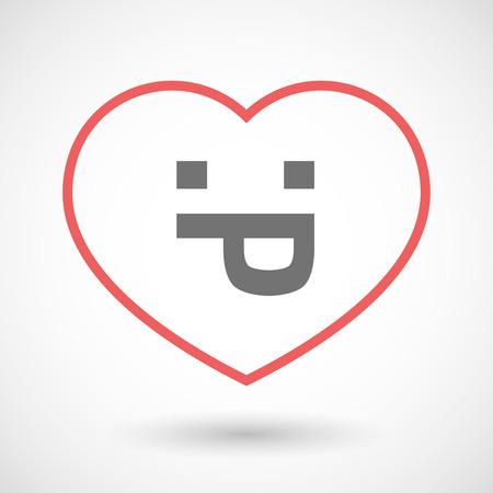 sacar la lengua: Ilustración de un icono de la línea de solera con una cara de texto lengua fuera Vectores