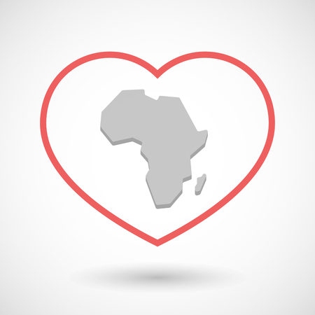 seduction: Illustration of a line hearth icon with  a map of the african continent