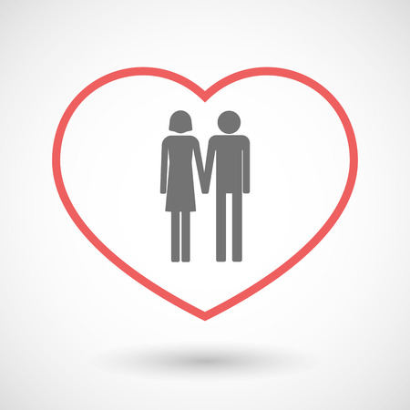 heterosexual: Illustration of a line hearth icon with a heterosexual couple pictogram Illustration