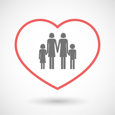 lesbian: Illustration of a line hearth icon with a lesbian parents family pictogram Illustration