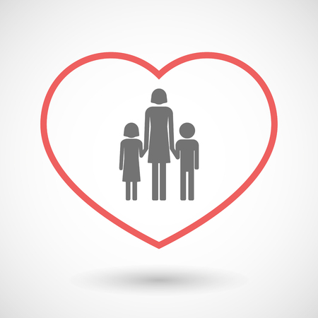 single family: Illustration of a line hearth icon with a female single parent family pictogram Illustration
